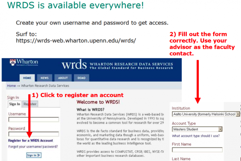 Aalto Finance databases include WRDS, first you need to register