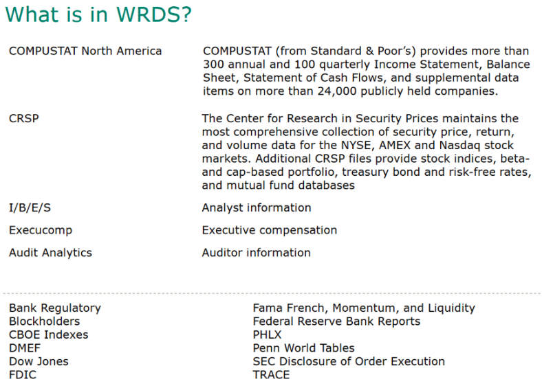 WRDS is an umbrella or platform that actually contains several databases