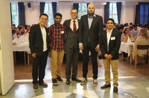 Aalto fire research group at the IAFSS 2017 symposium banquet.Left to Right: Dr. Kaiyuan Li, Rahul Janardhan, Prof. Simo Hostikka, Topi Sikanen and Deepak Paudel