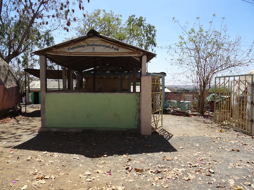 Technology Development Park at Vigyan Ashram, displaying grassroots innovations such as a vegetable dryer and rice planters, February, 2017. Photo: Cindy Kohtala