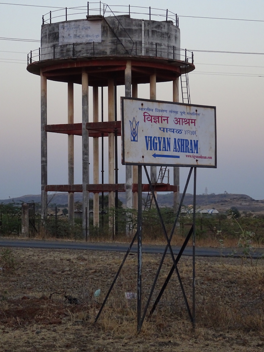 Signpost for Vigyan Ashram, Pabal, India, February, 2017. Photo: Cindy Kohtala