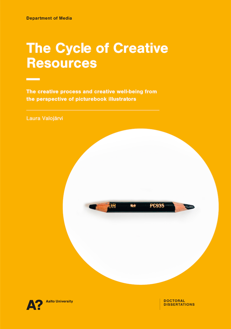 Cover image of Laura Valojärvis' dissertation 'The Cycle of Creative Resources - The creative process and creative well-being from the perspective of picturebook illustrators'.