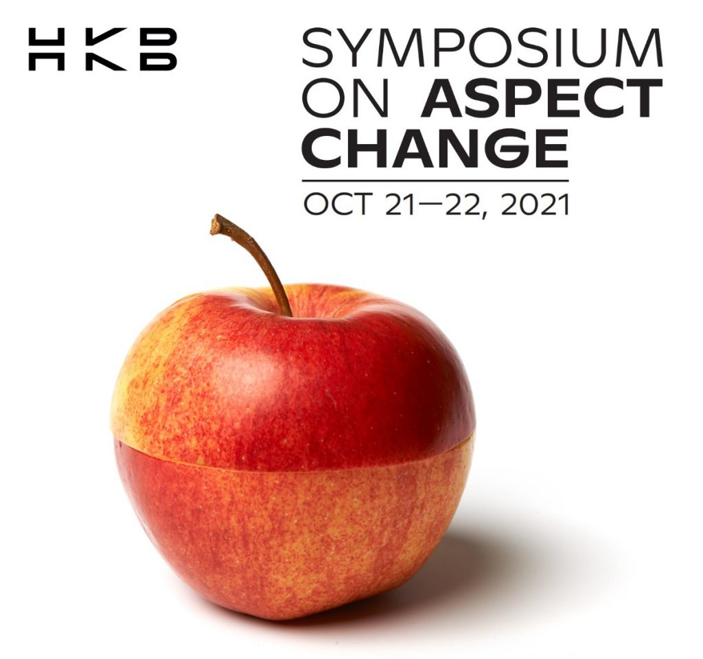 Image for Symposium on Aspect Change containing an apple and the Hochschule der Künste Bern HKB logo.