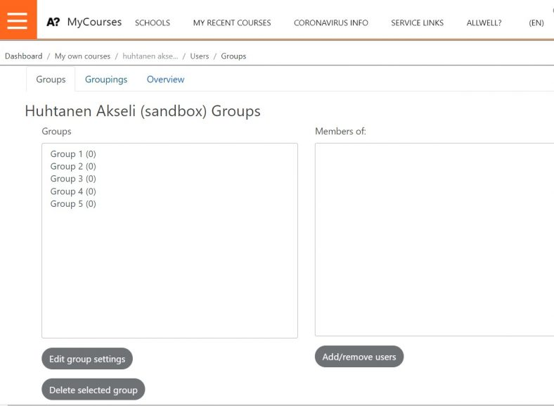 MyCourses Groups administration view