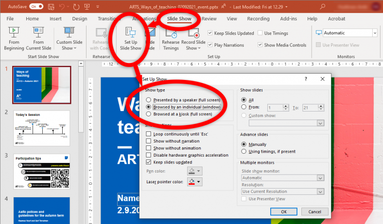 Illustration how to find options for presenting powerpoint in a window