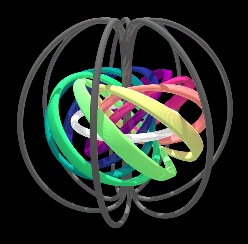 Topological structure of a quantum-mechanical knot soliton. The white ring is the core of the soliton (field pointing down), and the surrounding colored bands define a set of nested tori that illustrate the linked structure of its field lines. The boundary of the knot lies near the dark grey lines (field pointing up). Credit: David Hall.