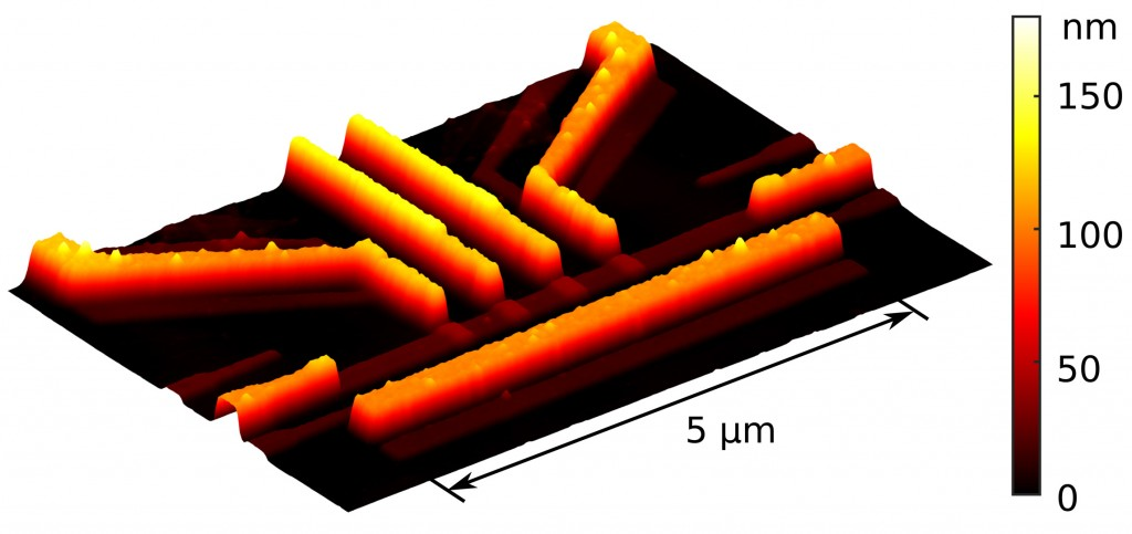 Atomic-force microscope image of one of the resistors in the device used to demonstrate quantum-limited heat conduction over macroscopic distances. Note that there are excess inactive copies of some of the structures owing to the employed fabrication methods. Credit: Matti Partanen.