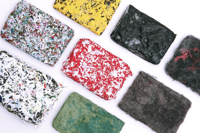 New materials created from recycled plastics and textiles during the course Experimental Textile Design