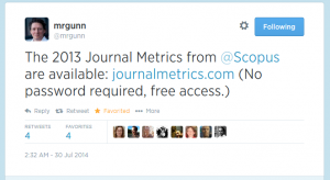 Tweet about Journal Metrics by Scopus